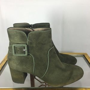 White Mt. Faux Suede Buckle Ankle Boots